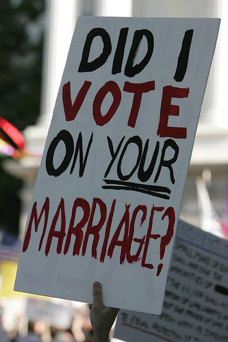 "Gay Marriage Protest Sign: ""Did I vote on YOUR  Marriage?"""
