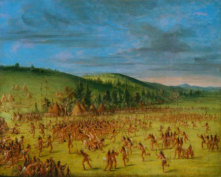 "painting: ""Ball Play of the Choctaws"" by George Catlin"